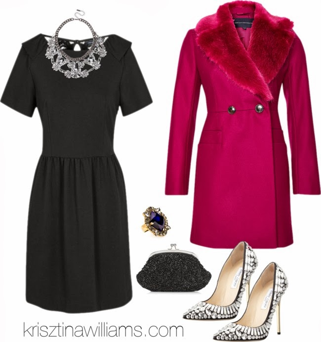 black-dress-mini-bib-necklace-black-bag-clutch-ring-white-shoe-pumps-pink-magenta-jacket-coat-blacktie-fall-holiday-dinner.jpg