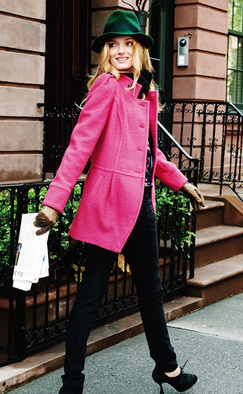 black-skinny-jeans-black-sweater-r-pink-magenta-jacket-coat-howtowear-fashion-style-outfit-fall-winter-hat-gloves-blonde-lunch.jpg
