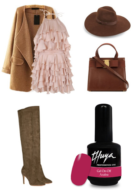 r-pink-light-dress-o-camel-jacket-coat-brown-shoe-boots-hat-brown-bag-nail-tier-ruffle-mini-howtowear-fashion-style-fall-winter-outfit-lunch.jpg
