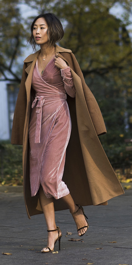 what-to-wear-for-a-winter-wedding-guest-outfit-song-of-style-pink-light-dress-wrap-velvet-brun-pony-camel-jacket-coat-dinner.jpg