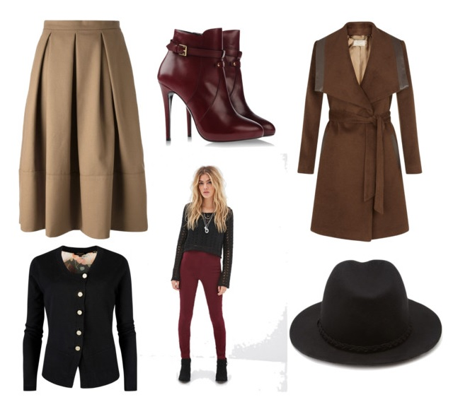 o-tan-aline-skirt-black-cardigan-camel-jacket-coat-howtowear-fashion-style-outfit-fall-winter-colored-red-tights-hat-red-shoe-booties-wrap-pleat-work.jpg