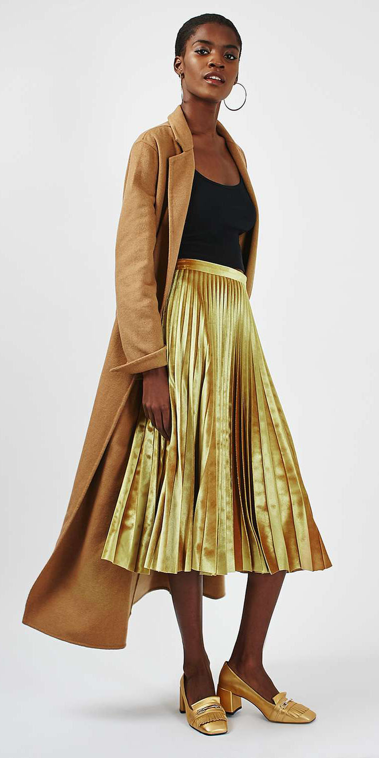 yellow-midi-skirt-gold-metallic-pleated-black-tee-camel-jacket-coat-hoops-holiday-outfit-fall-winter-brun-dinner.jpg