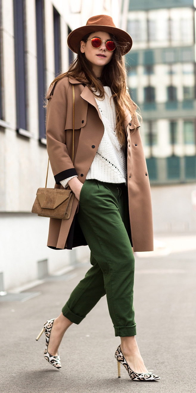 green-olive-joggers-pants-white-sweater-camel-jacket-coat-trench-hat-sun-hairr-cognac-bag-white-shoe-pumps-fall-winter-lunch.jpg