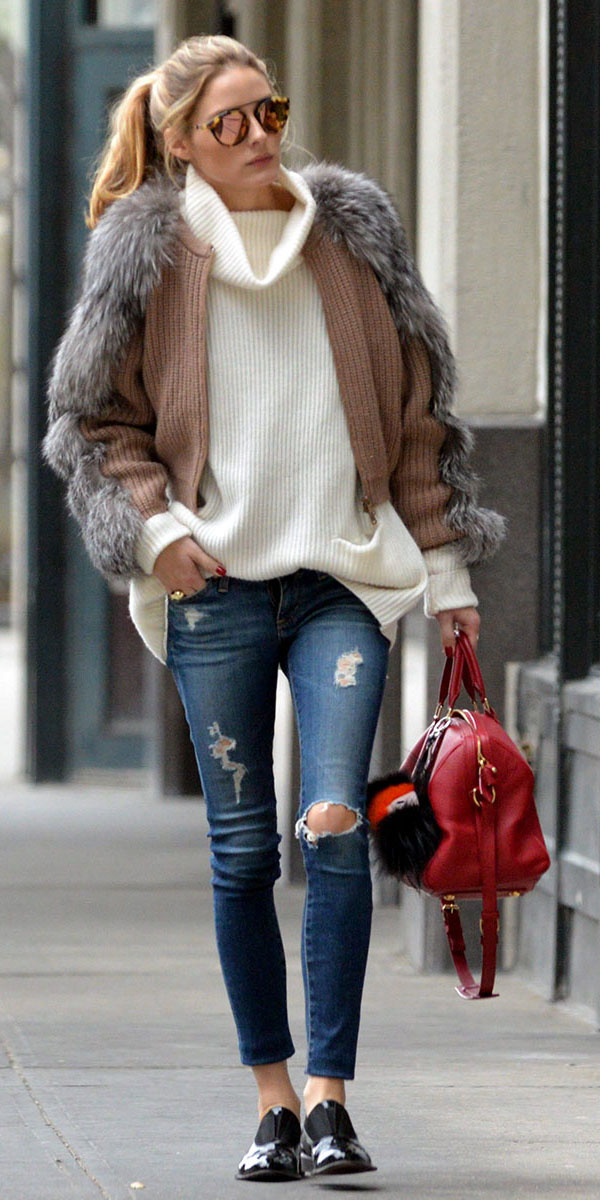 blue-navy-skinny-jeans-white-sweater-turtleneck-red-bag-pony-sun-black-shoe-brogues-oliviapalermo-camel-jacket-coat-fur-fuzz-fall-winter-hairr-weekend.jpg
