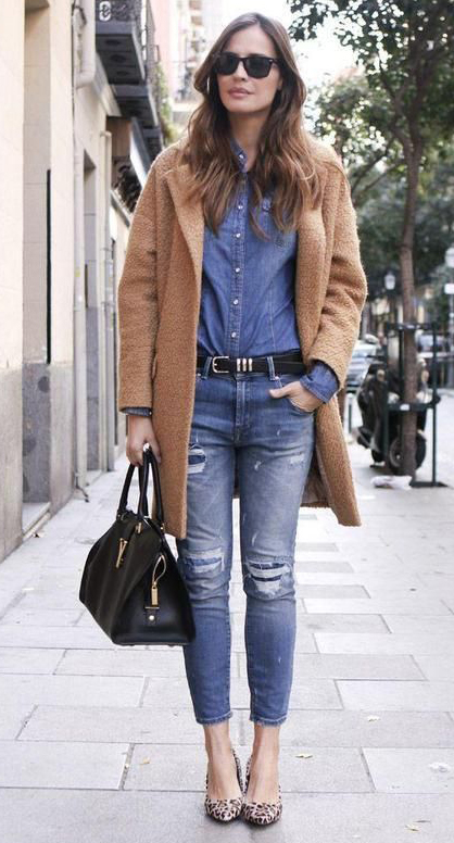 blue-med-skinny-jeans-blue-med-collared-shirt-camel-jacket-coat-black-bag-belt-sun-tan-shoe-pumps-leopard-howtowear-fashion-style-fall-winter-outfit-hairr-lunch.jpg