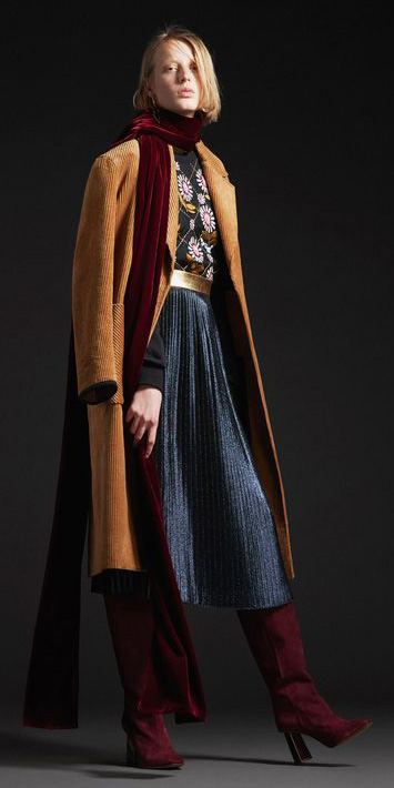 black-midi-skirt-pleated-burgundy-scarf-camel-jacket-coat-blonde-burgundy-shoe-boots-layer-fall-winter-lunch.jpg