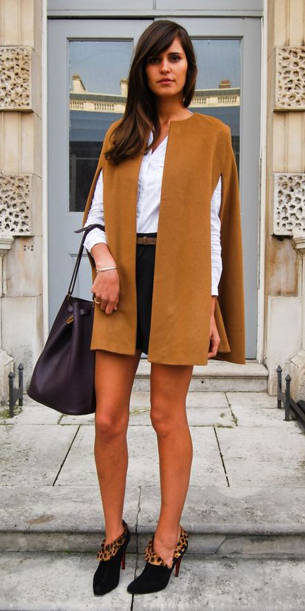 black-shorts-white-collared-shirt-camel-jacket-coat-cape-belt-brun-black-shoe-booties-fall-winter-lunch.jpg
