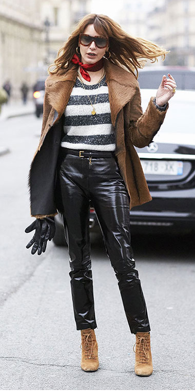 black-skinny-jeans-leather-tan-shoe-booties-white-sweater-stripe-camel-jacket-coat-fur-red-scarf-neck-hairr-sun-fall-winter-lunch.jpg