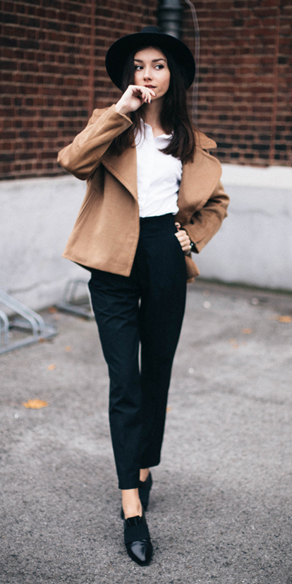 black-joggers-pants-hat-brun-white-collared-shirt-black-shoe-brogues-camel-jacket-coat-peacoat-fall-winter-lunch.jpg