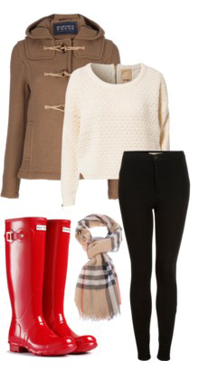 black-skinny-jeans-white-sweater-toggle-red-shoe-boots-rain-wellies-plaid-print-tan-scarf-camel-jacket-coat-fall-winter-weekend.jpg