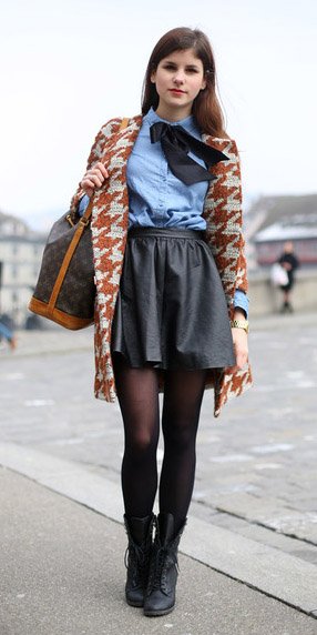 black-mini-skirt-camel-jacket-coat-houndstooth-blue-light-collared-shirt-layer-black-shoe-booties-black-tights-fall-winter-hairr-lunch.jpg