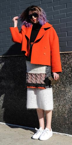 white-midi-skirt-black-sweater-orange-jacket-coat-sun-peacoat-outfit-fall-winter-knit-white-shoe-sneakers-boxy-street-lunch.jpg