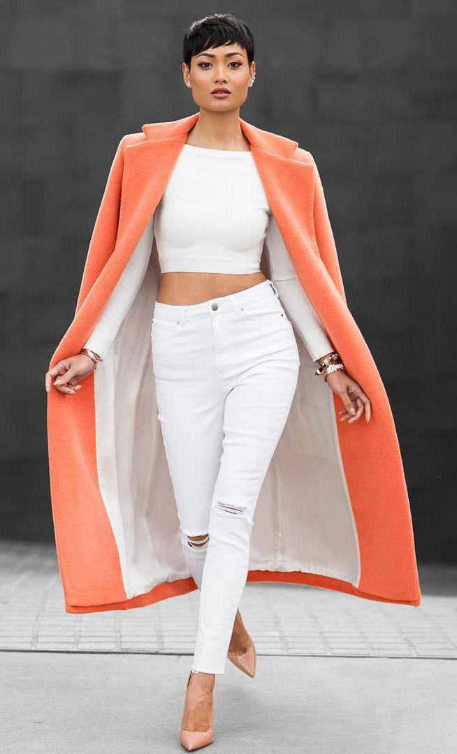 white-skinny-jeans-white-crop-top-tan-shoe-pumps-orange-jacket-coat-brun-spring-summer-dinner.jpg