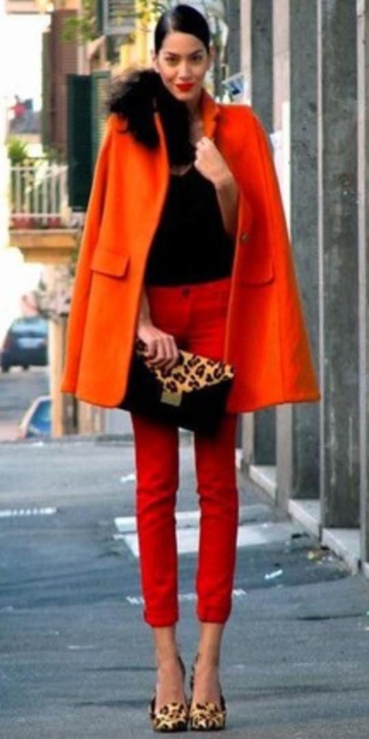 red-skinny-jeans-black-sweater-orange-jacket-coat-tan-bag-clutch-tan-shoe-pumps-bun-howtowear-style-fashion-fall-winter-match-fur-leopard-brun-dinner.jpg