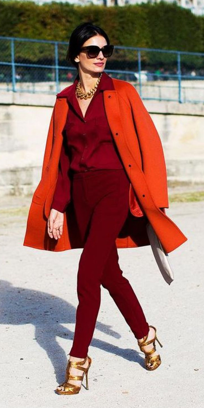 red-slim-pants-red-collared-shirt-orange-jacket-coat-chain-necklace-tan-shoe-sandalh-gold-pony-howtowear-fall-winter-brun-dinner.jpg