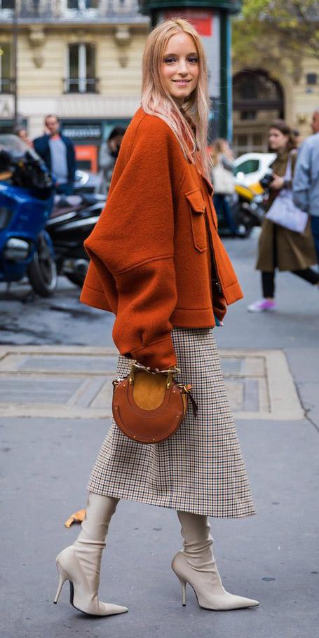 tan-midi-skirt-plaid-cognac-bag-orange-jacket-coat-tan-shoe-boots-cape-fall-winter-blonde-lunch.jpg
