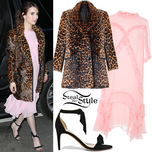 pink-light-dress-midi-ruffle-leopard-print-black-shoe-sandalh-emmaroberts-brown-jacket-coat-fur-fuzz-fall-winter-hairr-dinner.jpg