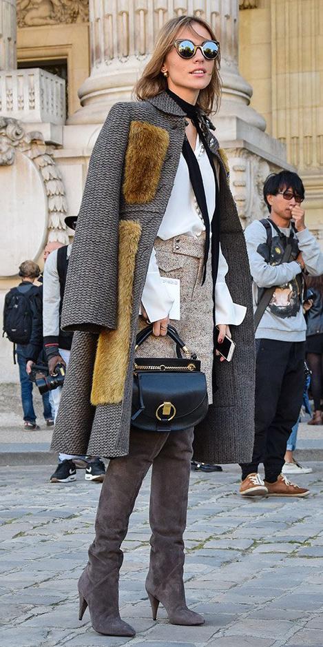 tan-mini-skirt-tweed-white-top-blouse-black-scarf-neck-black-bag-blonde-sun-brown-jacket-coat-brown-shoe-boots-fall-winter-dinner.jpg