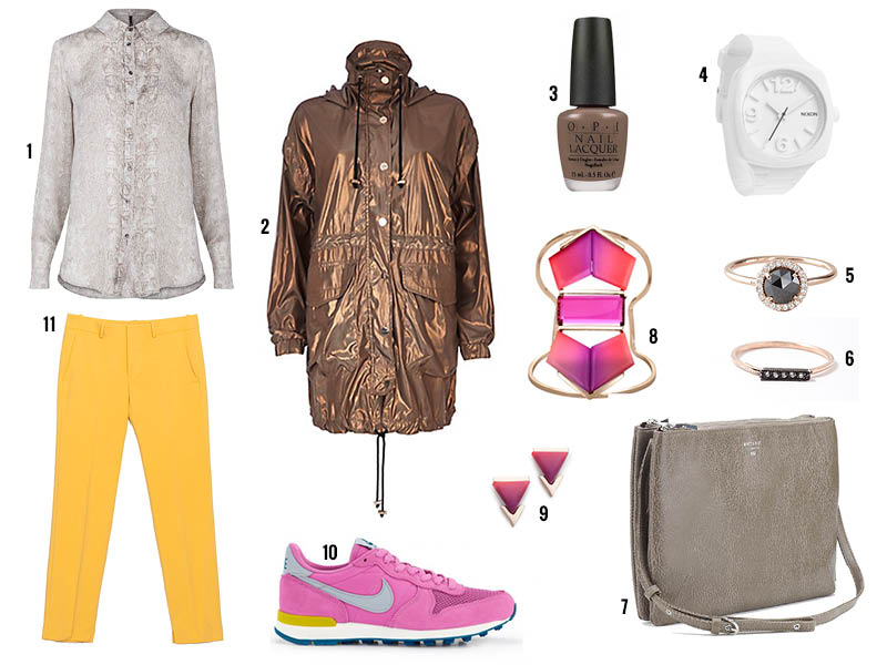 yellow-slim-pants-magenta-shoe-sneakers-bracelet-studs-nail-watch-gray-bag-grayl-top-blouse-brown-jacket-coat-parka-fall-winter-lunch.jpg