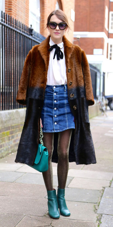 blue-med-mini-skirt-denim-white-top-blouse-brown-jacket-coat-brown-tights-green-bag-green-shoe-booties-bun-alexachung-london-fall-winter-hairr-lunch.jpg