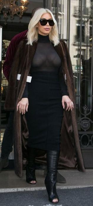 black-midi-skirt-black-top-sheer-brown-jacket-coat-fur-sun-black-shoe-boots-kimkardashian-blonde-fall-winter-dinner.jpg