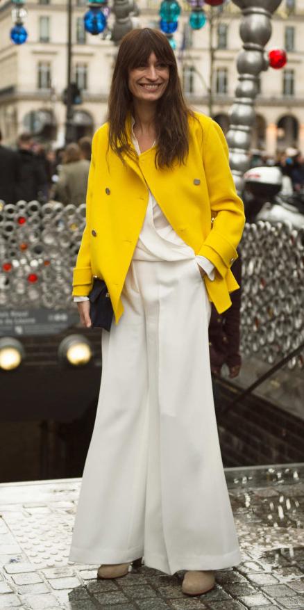 white-wideleg-pants-white-top-blouse-hairr-tan-shoe-booties-yellow-jacket-coat-peacoat-fall-winter-work.jpg