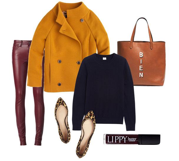 burgundy-skinny-jeans-blue-navy-sweater-cognac-bag-tote-tan-shoe-pumps-leopard-print-yellow-jacket-coat-fall-winter-lunch.jpg