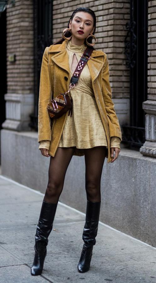 yellow-dress-mini-brown-bag-hoops-brun-black-tights-black-shoe-boots-gold-yellow-jacket-coat-velvet-fall-winter-dinner.jpg