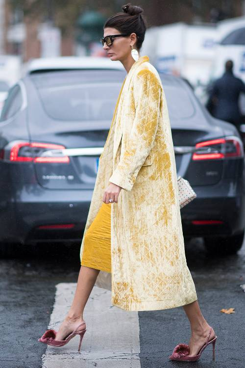 what-to-wear-for-a-spring-wedding-guest-outfit-yellow-jacket-coat-velvet-pink-shoe-pumps-bun-earrings-dinner.jpg