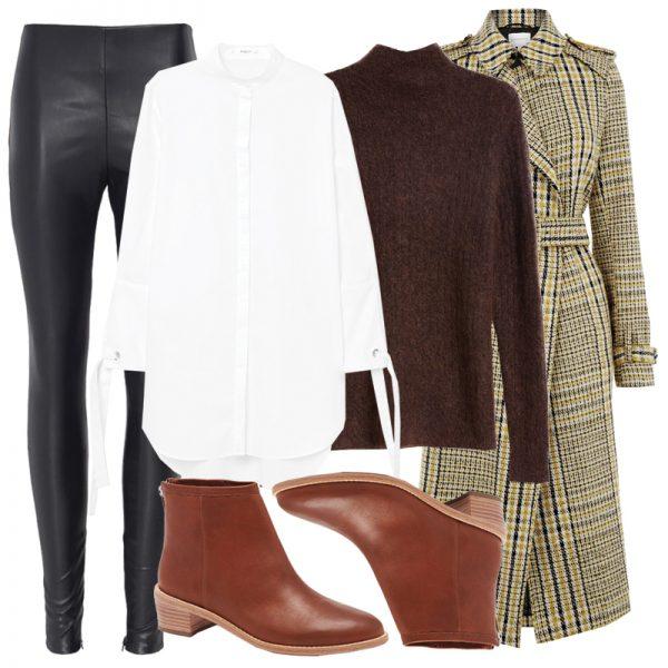 black-leggings-cognac-shoe-booties-white-top-blouse-brown-sweater-plaid-yellow-jacket-coat-fall-winter-lunch.jpg