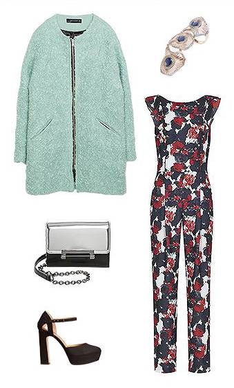 what-to-wear-for-a-winter-wedding-guest-outfit-blue-navy-jumpsuit-floral-print-green-light-jacket-coat-black-shoe-pumps-ring-dinner.jpg