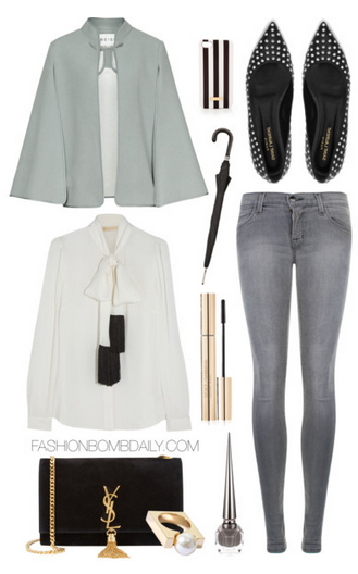 grayl-skinny-jeans-white-top-blouse-bow-black-shoe-pumps-black-bag-green-light-jacket-coat-cape-howtowear-fashion-style-outfit-spring-summer-dinner.jpg