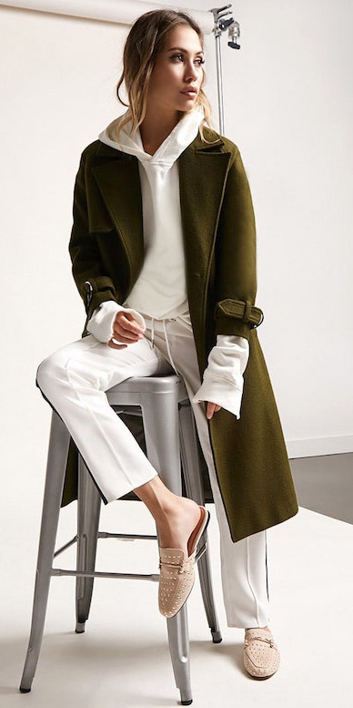 white-slim-pants-trackpants-white-sweater-sweatshirt-white-shoe-loafers-slides-green-olive-jacket-coat-fall-winter-hairr-lunch.jpg