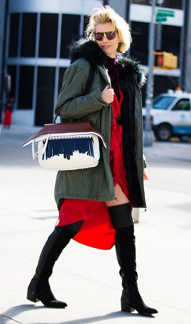 red-dress-wrap-layer-black-tee-turtleneck-blonde-bob-white-bag-black-shoe-boots-green-olive-jacket-coat-parka-fall-winter-outfit-lunch.jpg