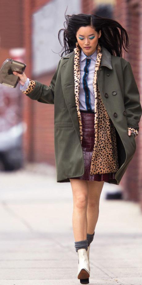 burgundy-mini-skirt-leopard-print-green-olive-jacket-coat-layer-blue-light-collared-shirt-socks-white-shoe-booties-tan-jacket-coat-fall-winter-brun-lunch.jpg