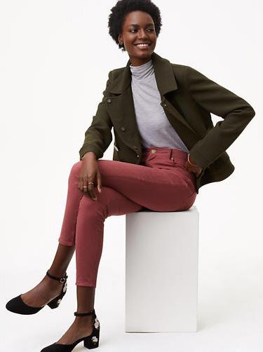 pink-magenta-skinny-jeans-grayl-tee-black-shoe-pumps-green-olive-jacket-coat-fall-winter-brun-lunch.jpg