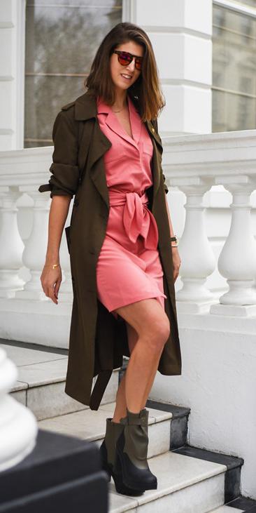 pink-magenta-dress-wrap-mini-sun-lob-hairr-green-shoe-booties-green-olive-jacket-coat-trench-fall-winter-lunch.jpg