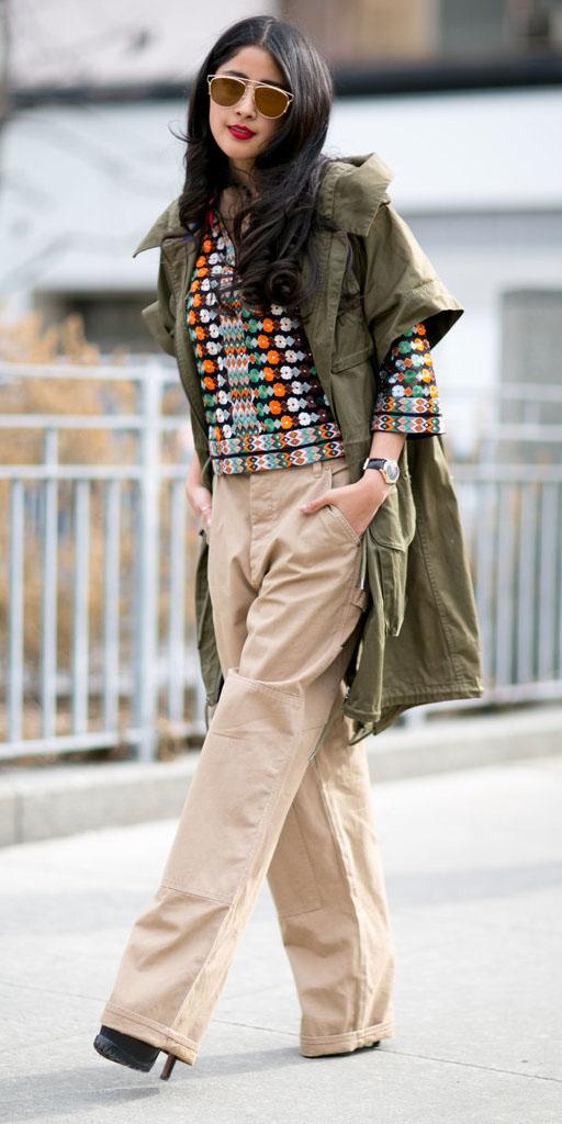 tan-wideleg-pants-orange-top-print-sun-green-olive-jacket-coat-utility-fall-winter-brun-lunch.jpg