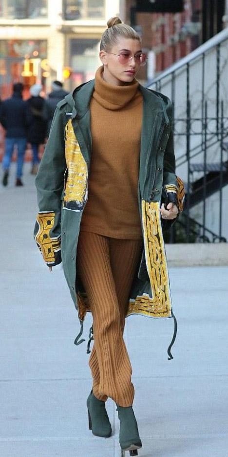 camel-joggers-pants-camel-sweater-turtleneck-bun-sun-green-shoe-booties-haileybaldwin-green-olive-jacket-coat-fall-winter-blonde-lunch.jpg