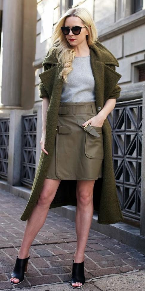 green-olive-mini-skirt-leather-grayl-tee-green-olive-jacket-coat-sun-blonde-black-shoe-sandalh-fall-winter-lunch.jpg