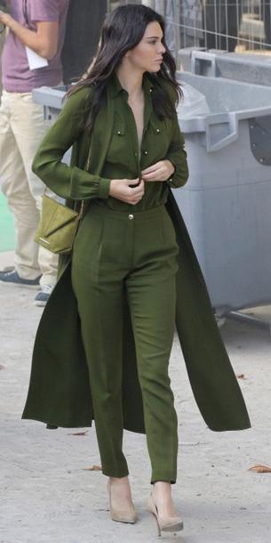 green-olive-joggers-pants-green-olive-collared-shirt-green-olive-jacket-coat-mono-green-bag-tan-shoe-pumps-kendalljenner-fall-winter-brun-lunch.jpg