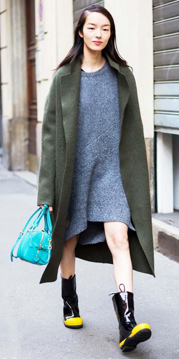 grayl-dress-sweater-blue-bag-black-shoe-booties-green-olive-jacket-coat-fall-winter-brun-lunch.jpg