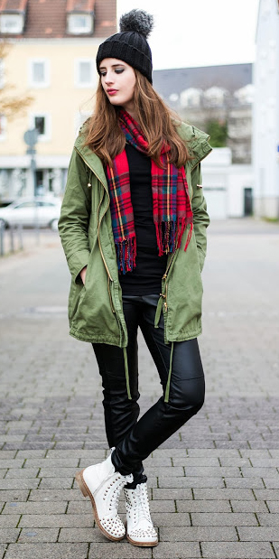 black-skinny-jeans-black-tee-red-scarf-green-olive-jacket-coat-parka-beanie-white-shoe-booties-howtowear-fashion-style-outfit-hairr-fall-winter-weekend.jpg