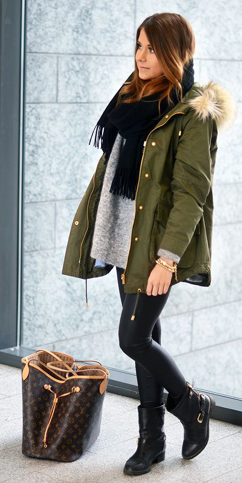 black-skinny-jeans-grayl-sweater-black-scarf-green-olive-jacket-coat-parka-brown-bag-black-shoe-booties-howtowear-fashion-style-outfit-hairr-fall-winter-weekend.jpg