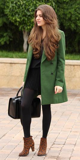 black-mini-skirt-black-tights-cognac-shoe-booties-black-bag-green-olive-jacket-coat-fall-winter-hairr-lunch.jpg