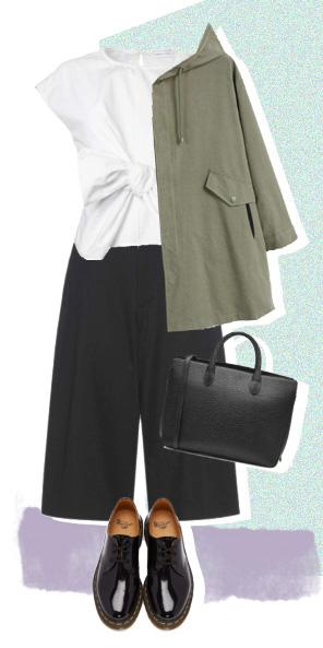 black-culottes-white-top-black-bag-black-shoe-brogues-green-olive-jacket-coat-parka-fall-winter-work.jpg