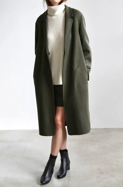 black-mini-skirt-white-sweater-turtleneck-green-olive-jacket-coat-socks-black-shoe-booties-fall-winter-lunch.jpg
