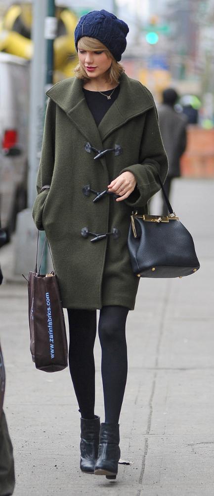 green-olive-jacket-coat-toggle-black-shoe-booties-black-tights-beanie-black-bag-fall-winter-taylorswift-celebrity-street-blonde-weekend.jpg