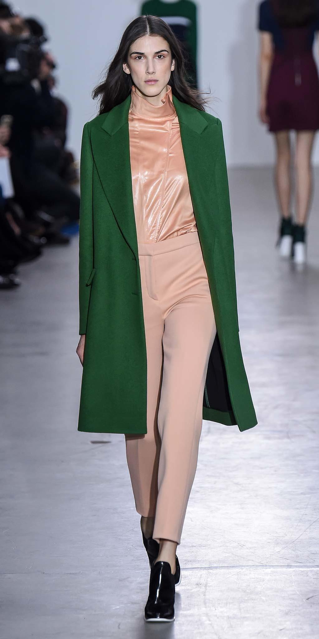 peach-slim-pants-peach-top-black-shoe-booties-runway-green-emerald-jacket-coat-fall-winter-brun-dinner.jpg