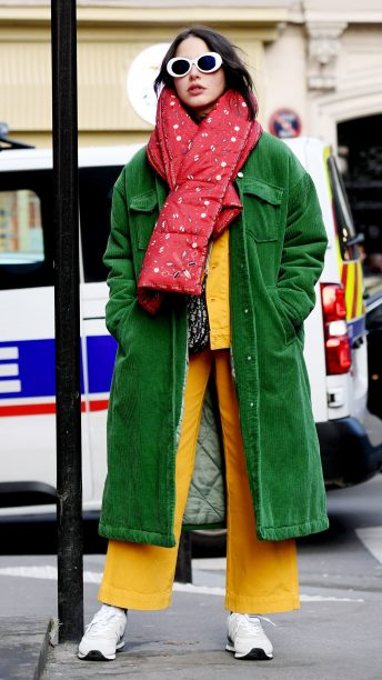 yellow-wideleg-pants-red-scarf-green-emerald-jacket-coat-layer-sun-hairr-white-shoe-sneakers-fall-winter-weekend.jpg